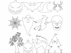 Halloween Cut File Set dxf File