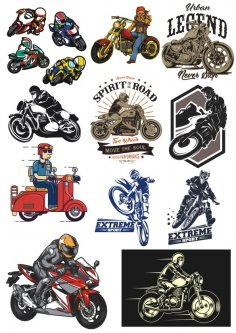 Motorcycle Chopper Racer Vinyl Sticker Decals Free Vector
