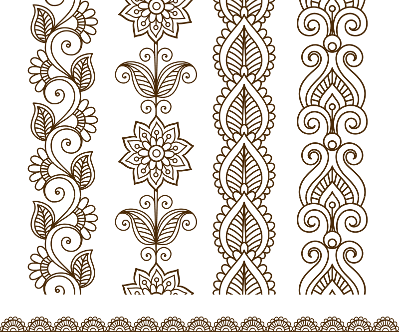 Border elements in Indian mehndi style CDR File