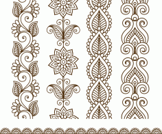 Border elements in Indian mehndi style Free Vector