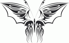 Tribal Butterfly Vector Art 12 DXF File