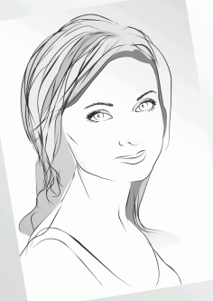 Girl in Sketch Lines Free Vector