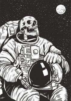 Skeleton Linocut Astronaut Print Free Vector