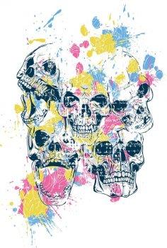 Skulls Print Free Vector