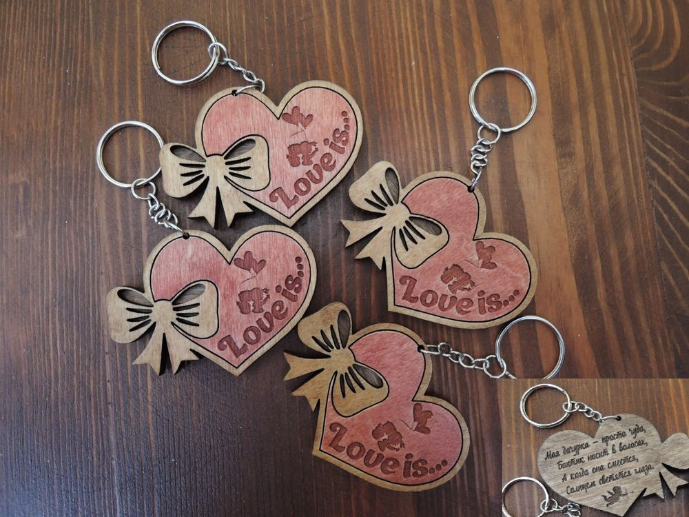 Keychains For Your Loved Ones Lasercut Free Vector