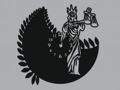 Femida woman of justice Clock DXF File