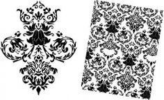 Free Baroque Floral Vector Pattern dxf File