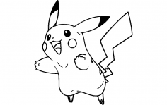 Pikachu 2 lines dxf File