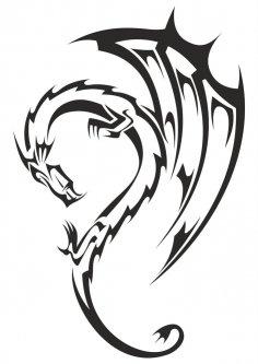 Dragon Tribal Tattoo Vector Free Vector