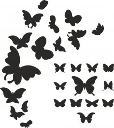 Butterfly Silhouette Vector Art Free Vector