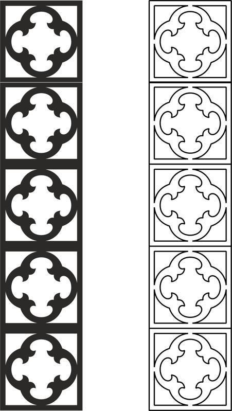 Carved lattice partition pattern vector dxf File