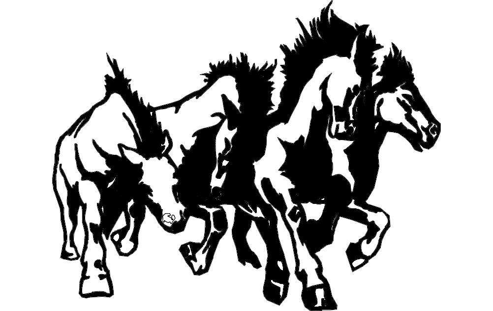 Horse Sampede dxf File