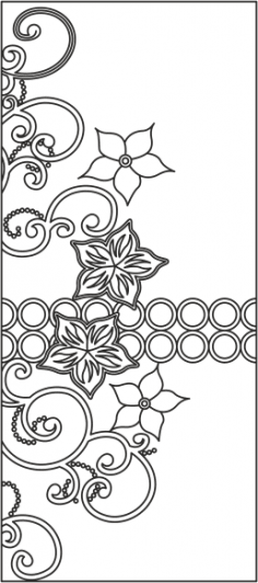 Floral Design Wardrobe Door Vector CDR File