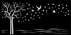 Tree Start Bird Vector Art CDR File