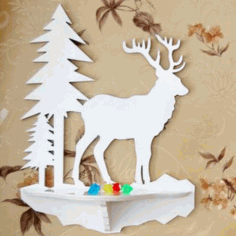 Laser Cut Wall Shelf Deer Free Vector
