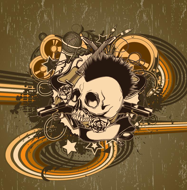 Old Skull Poster Vector Art Free Vector