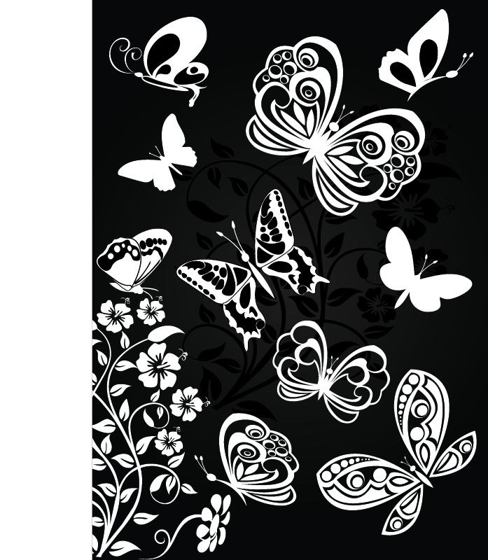 Sorts Of Butterflies Clip Art Vector Material Free Vector