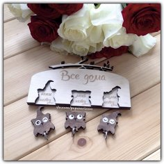 Owls Wall Key Holder Laser Cut Free Vector