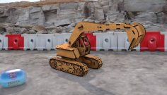 Laser Cut Wood Excavator 3D Puzzle Free Vector