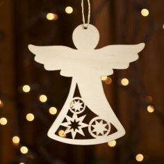 Laser Cut Wooden Angel Christmas Ornament Free Vector