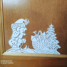 Laser Cut Hedgehog Christmas Decoration Free Vector
