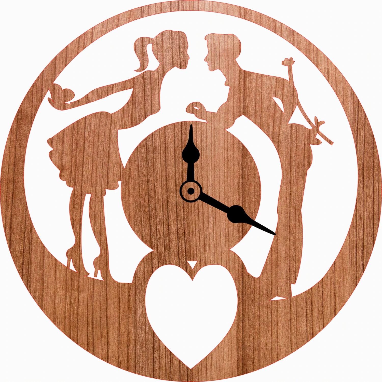 Laser Cut Love Romantic Couple Wall Clock Free Vector