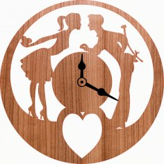 Laser Cut Love Romantic Couple Wall Clock Free Vector