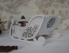 Laser Cut Christmas Sleigh Decoration Free Vector
