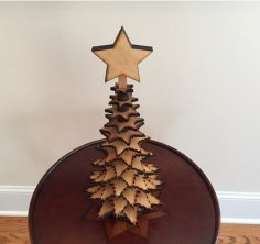 Laser Cut Mini Tabletop Christmas Tree Free Vector