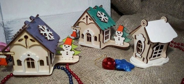 Laser Cut Wooden Christmas Village Free Vector