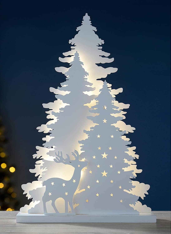 Laser Cut Tree Reindeer Scene Christmas Table Decoration Free Vector