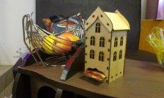 Laser Cut Wooden Tea House Template Free Vector