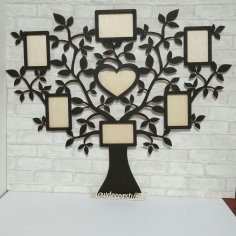 Laser Cut Tree with 7 Photo Frames Free Vector