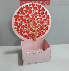 Laser Cut Box with Hearts Tree Free Vector