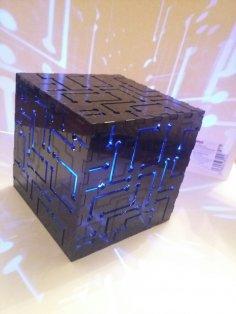 Laser Cut Cube Night Light Free Vector