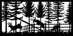 30 X 60 Deer In Garden Plasma Metal Art DXF File