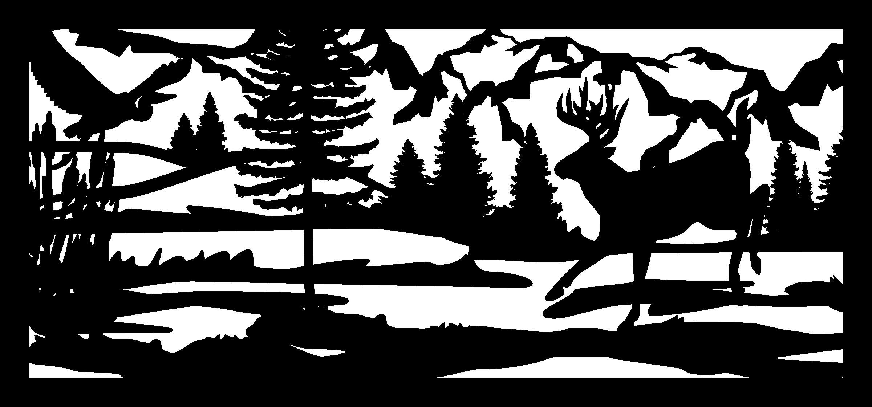 28 X 60 Herron Cattails Water Buck And Mountains Plasma Art DXF File