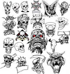 Terror Skull Head Vector Set Free Vector