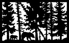 30 X 48 Two Bears Leaning Tree B Plasma Art DXF File
