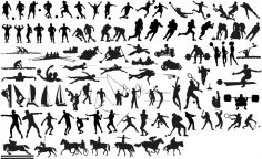 Silhouettes of Sportsmen Free Vector