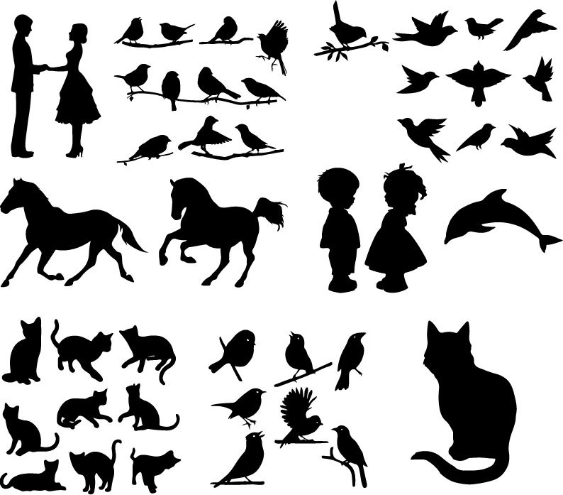 Various Silhouettes Set Free Vector