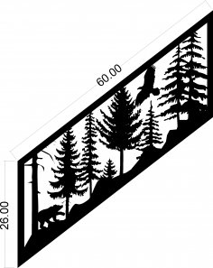 Plasma Art Stair Railing Panel Design DXF File