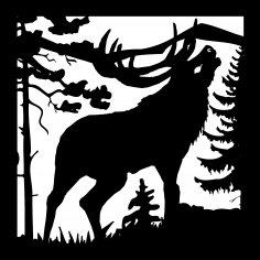 24 X 24 Elk Bugeling Plasma Metal Art DXF File