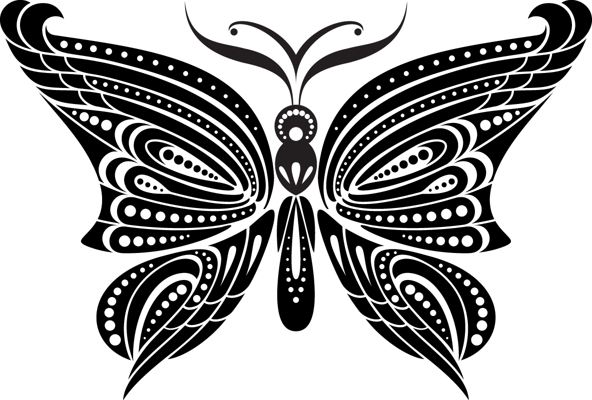 Black Butterfly Tattoo Free Vector