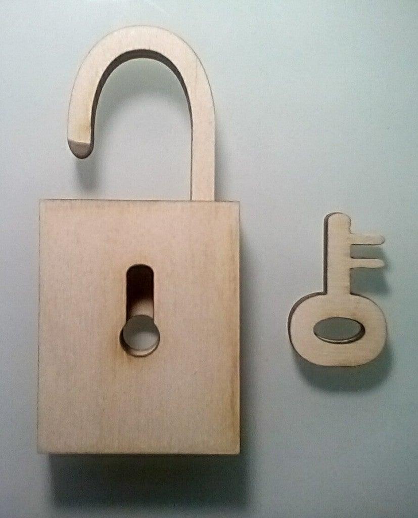 Laser Cut Padlock With Key SVG File