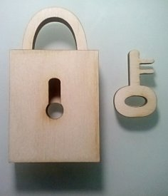 Laser Cut Padlock With Key SVG File