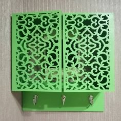 Laser Cut Wall-Mounted Key Cabinet DXF File