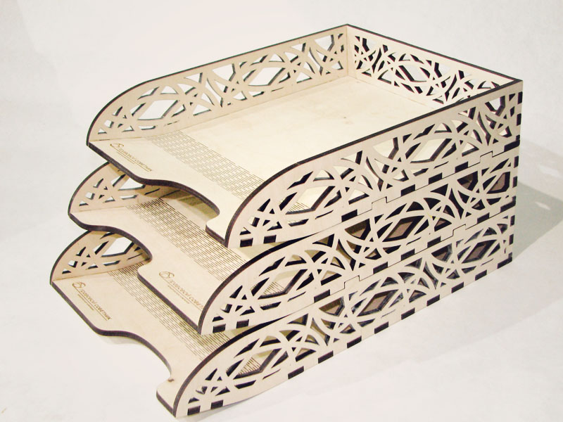 Laser Cut Stackable Office Letter Organizer Desk Tray Free Vector