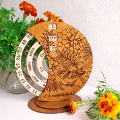 Laser Cut Wooden Rotating Circular Perpetual Calendar Free Vector