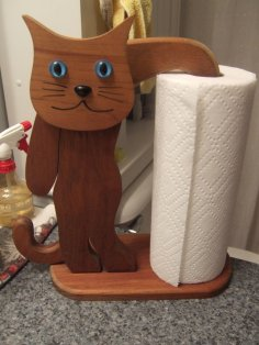 Laser Cut Cat Shape Paper Towel Holder Kitchen Tissue Holder Household Roll Paper Stand PDF File
